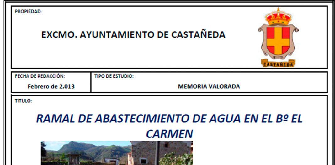 Abastecimiento agua El Carmen