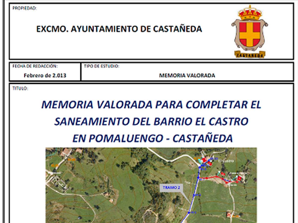 Proyecto de saneamiento en barrio El Castro en Pomaluengo